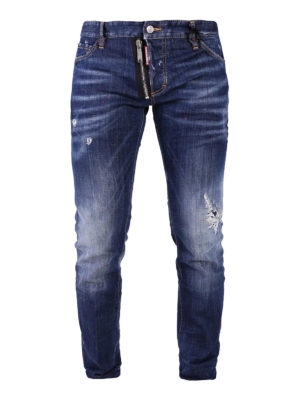 Dsquared2: straight leg jeans - Dark Tattoo denim slim jeans