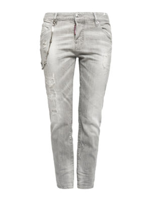 Dsquared2: straight leg jeans - Distressed coloured denim jeans