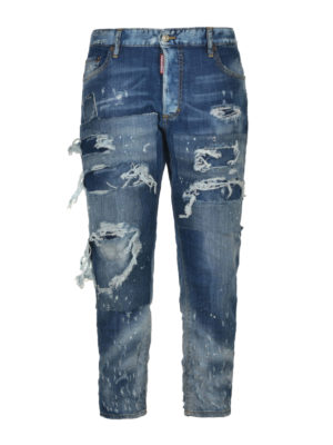 Dsquared2: straight leg jeans - Distressed crop jeans