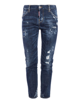 Dsquared2: straight leg jeans - Distressed denim five pocket jeans