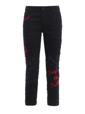 Dsquared2: straight leg jeans - Glam Head patched embroidered jeans