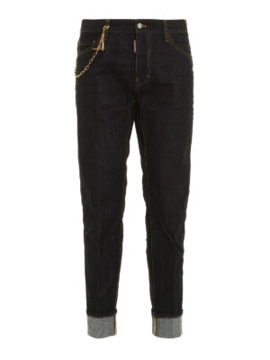 Dsquared2: straight leg jeans - Gold-tone chain Cool Guy jeans