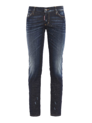 Dsquared2: straight leg jeans - Jennifer scraped and spotted jeans