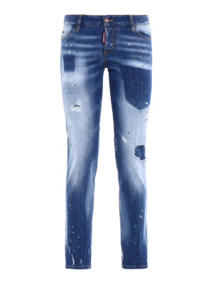 Dsquared2: straight leg jeans - Jennifer shadow denim spotted jeans