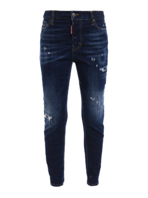 Dsquared2: straight leg jeans - Londean varnish spots jeans