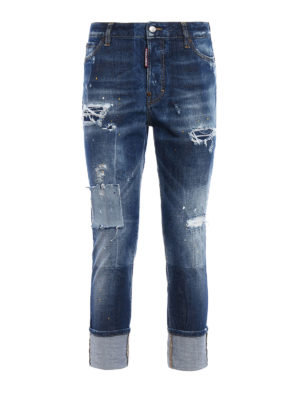 Dsquared2: straight leg jeans - London patched and spotted jeans