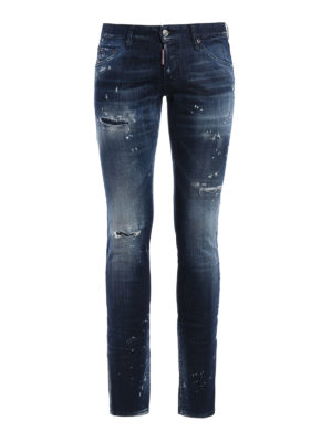 Dsquared2: straight leg jeans - Long Clement spotted jeans