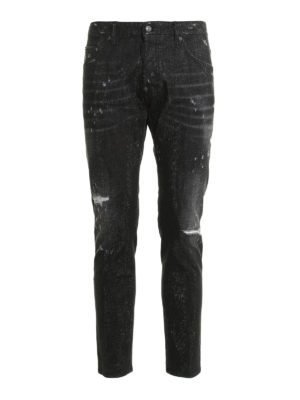 Dsquared2: straight leg jeans - Micro studs ripped jeans