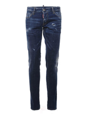 Dsquared2: straight leg jeans - MID RISE DISTRESSED JEANS