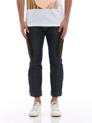 Dsquared2: straight leg jeans online - Biker Sky cargo cropped jeans