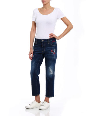 Dsquared2: straight leg jeans online - Boyfriend bird patches jeans
