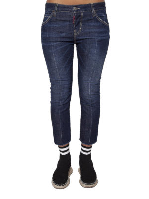 Dsquared2: straight leg jeans online - Central crease crop denim jeans