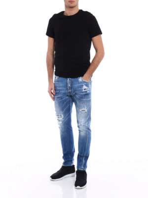 Dsquared2: straight leg jeans online - Classic Kenny Twist patch jeans