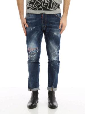 Dsquared2: straight leg jeans online - Classic Kenny Twist scraped jeans