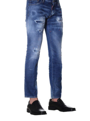 Dsquared2: straight leg jeans online - Clement red spotted jeans