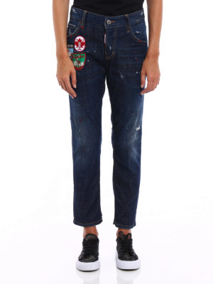 Dsquared2: straight leg jeans online - Cool Girl crop jeans with patches