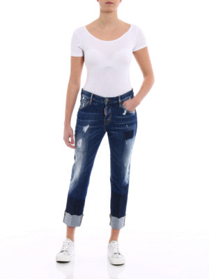Dsquared2: straight leg jeans online - Cool Girl dark wash cropped jeans