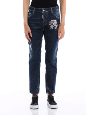 Dsquared2: straight leg jeans online - Cool Girl embellished jeans