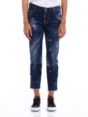 Dsquared2: straight leg jeans online - Cool Girl floral embroidered jeans