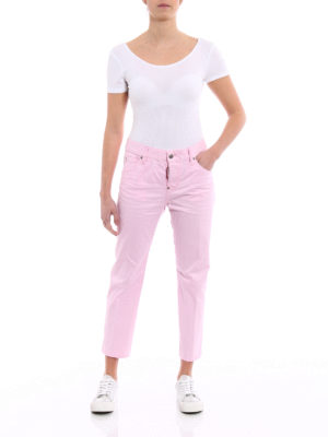 Dsquared2: straight leg jeans online - Cool Girl pink cropped jeans