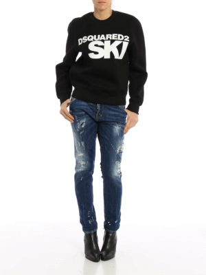 Dsquared2: straight leg jeans online - Cool Girl scraped faded denim jeans