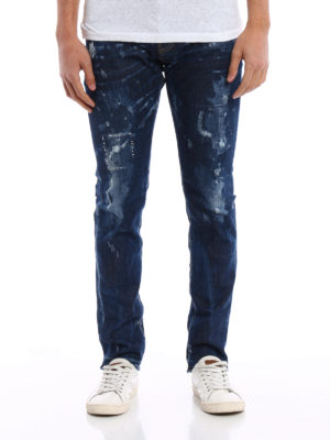 Dsquared2: straight leg jeans online - Cool Guy bleached jeans