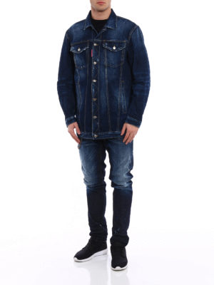 Dsquared2: straight leg jeans online - Cool Guy chain detail stained jeans