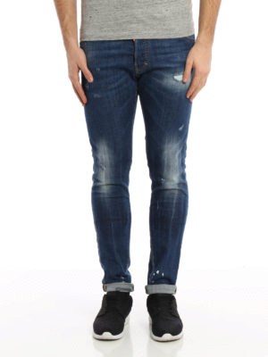 Dsquared2: straight leg jeans online - Cool Guy faded denim jeans