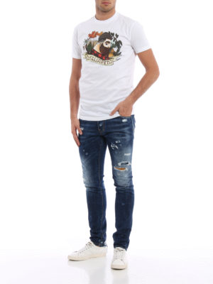 Dsquared2: straight leg jeans online - Cool Guy patched rips jeans