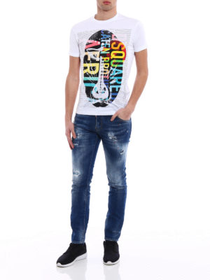 Dsquared2: straight leg jeans online - Cool Guy red spotted jeans