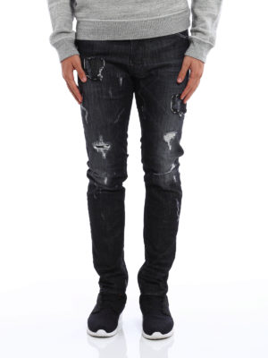 Dsquared2: straight leg jeans online - Cool Guy ripped jeans with patches