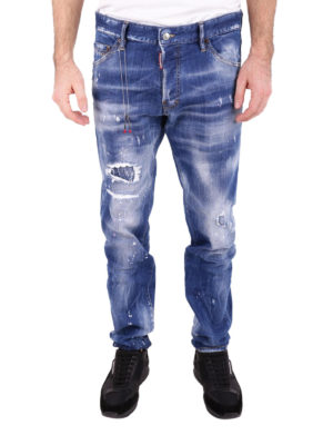 Dsquared2: straight leg jeans online - Cool Guy spotted faded denim jeans