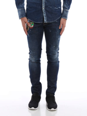 Dsquared2: straight leg jeans online - Cool Guy spotted jeans with patches