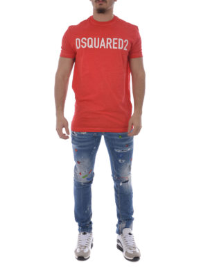 Dsquared2: straight leg jeans online - Cotton patterned jeans