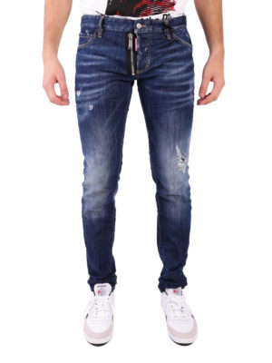 Dsquared2: straight leg jeans online - Dark Tattoo denim slim jeans