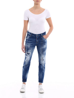 Dsquared2: straight leg jeans online - Destroyed effect Cool Girl jeans