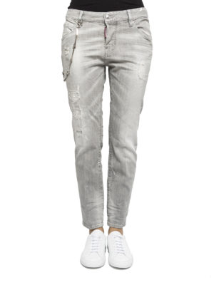 Dsquared2: straight leg jeans online - Distressed coloured denim jeans