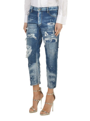 Dsquared2: straight leg jeans online - Distressed crop jeans