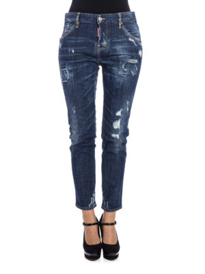 Dsquared2: straight leg jeans online - Distressed denim five pocket jeans