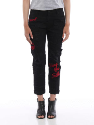 Dsquared2: straight leg jeans online - Glam Head patched embroidered jeans