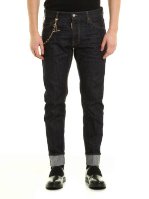 Dsquared2: straight leg jeans online - Gold-tone chain Cool Guy jeans