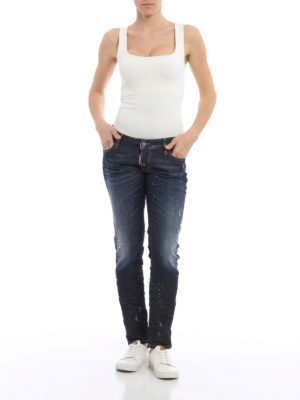 Dsquared2: straight leg jeans online - Jennifer scraped and spotted jeans