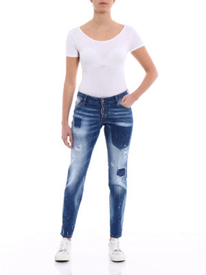 Dsquared2: straight leg jeans online - Jennifer shadow denim spotted jeans