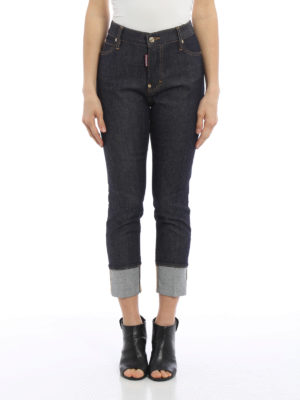 Dsquared2: straight leg jeans online - London maxi turn-ups jeans