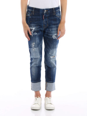 Dsquared2: straight leg jeans online - London patched and spotted jeans