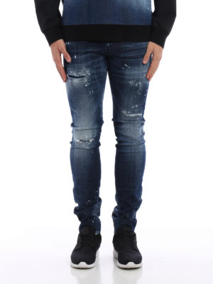 Dsquared2: straight leg jeans online - Long Clement spotted jeans