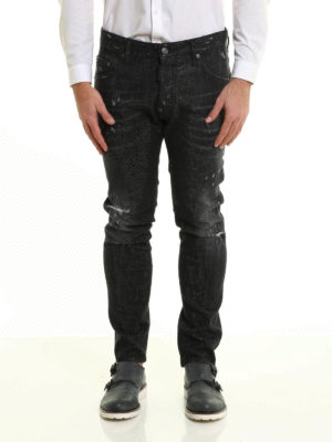 Dsquared2: straight leg jeans online - Micro studs ripped jeans