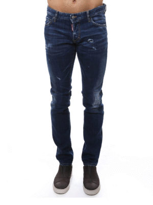 Dsquared2: straight leg jeans online - MID RISE DISTRESSED JEANS