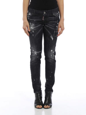 Dsquared2: straight leg jeans online - Ripped and spotted jeans