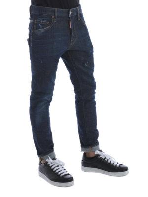 Dsquared2: straight leg jeans online - Skater faded denim jeans